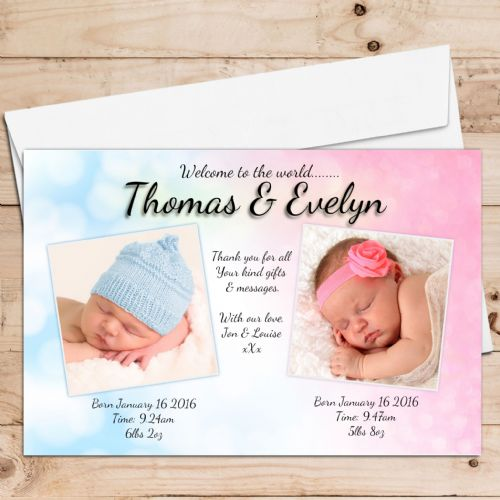 10 Personalised TWINS Girls Boys Birth Announcement Thank You PHOTO Cards N35